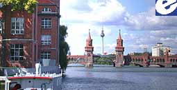 Berlin Office on the river Spree, Oberbaum Bridge, TV Tower
